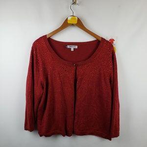 Jennifer Lopez Cardigan Metallic Sweater Sz 1X Red